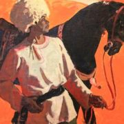 A man with a black horse