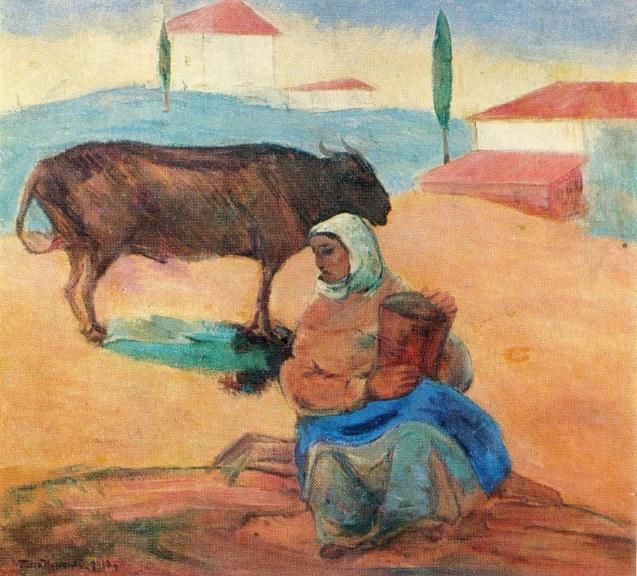 A woman with a bull-calf. 1926