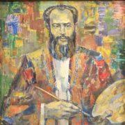 Artist with a palette, portrait