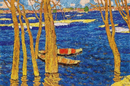Boats sail along the river. Canvas, oil