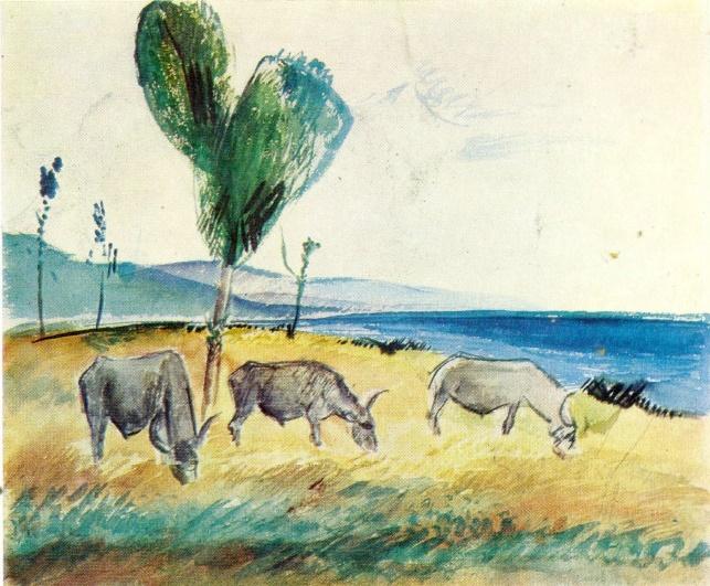 Bulls. Watercolor 1926-1927