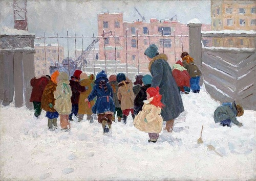 Children on winter walk. 1978. Soviet artist Nadezhda Vorobyova (14 April, 1924 - 9 July, 2011)