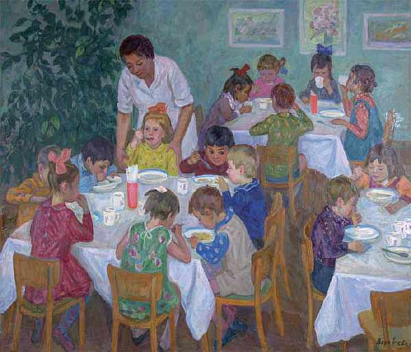 Dinner in kindergarten. 1968