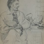 Drawing - a man sitting at the kitchen table. Pencil