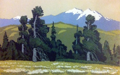 Forest and mountains. 1965. Mixed media