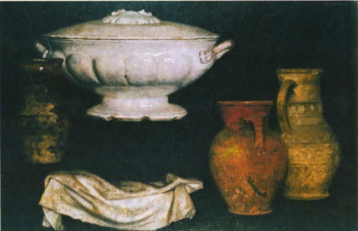 A soup tureen and pots. Oil. 1985