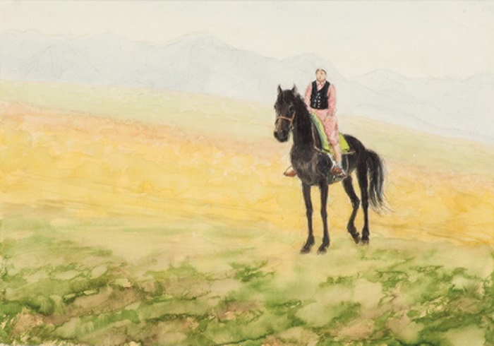Horsewoman among the mountains. 1963. paper, watercolor