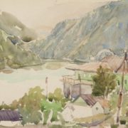 In the foothills of Almaty. 1950-1960's. Paper, watercolor