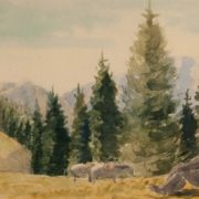 In the mountains. 1940s. Watercolor