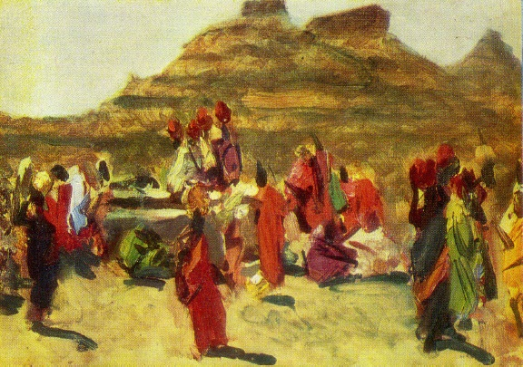 Indian women at the well. 1952. Sketch