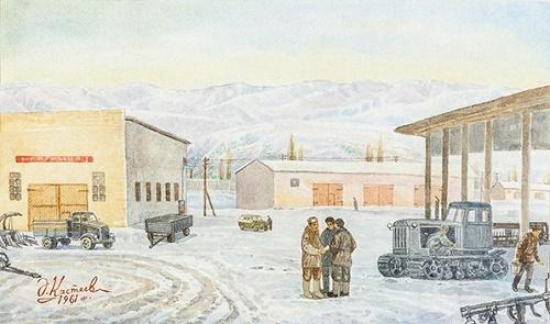 Machine operators. 1961. Watercolor paper