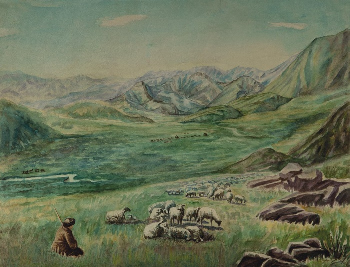 Mountain landscape. 1950s. Watercolors