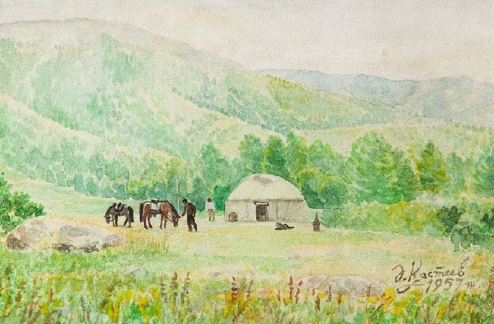 On jailyau. 1957. Watercolor paper