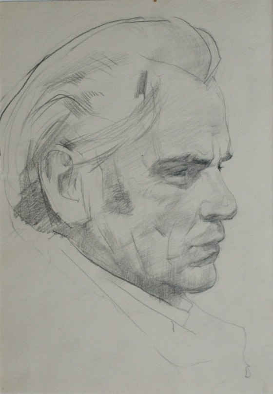 Pencil drawing. Man's portrait