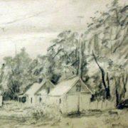 Pioneer camp. 1952. Coal, paper