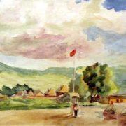 Pioneer camp. 1955. Watercolor