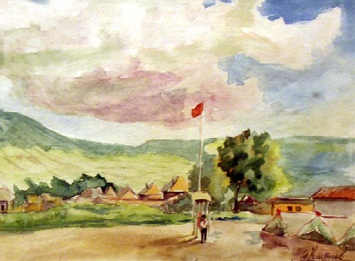 Pioneer camp. 1955. Watercolor