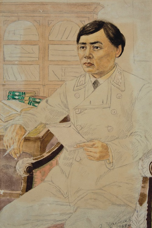 Portrait of I. Altynsarin. 1970s. Paper, watercolor