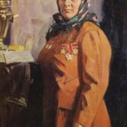 Portrait of a Hero of Socialist Labor milkmaid SK Krylova. 1971. Oil