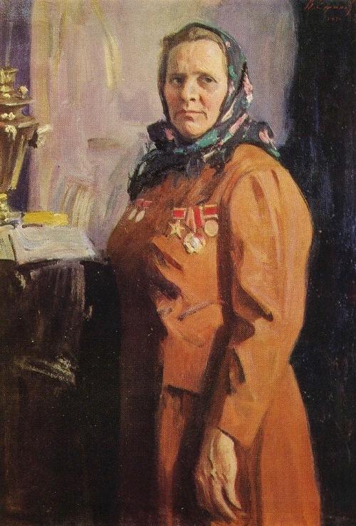 Portrait of a Hero of Socialist Labor milkmaid SK Krylova. 1971. Oil