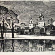 Pskov. Spring. Lithography