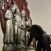 Red Army soldiers decorative panno on the wall in Frunzenskaya metro station, Leningrad