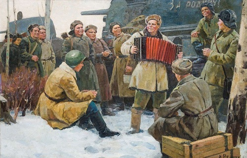 Rest after fight. 1960s. Soviet Ukrainian artist Igor Reznik 1918-1978