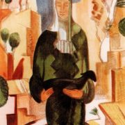 Sartyanka with lamb. Sheet from the album Mountain Bukhara. 1922. Colored lithography