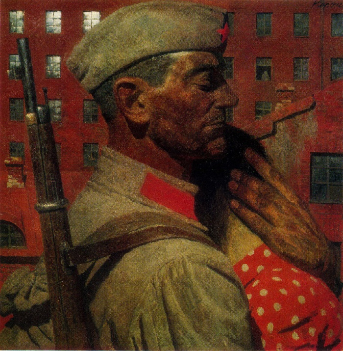 Seeing off. From the series Burned by the fire of the war. 1967. Oil on canvas. Russian Museum