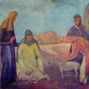Shearing sheep. 1912. Oil on canvas