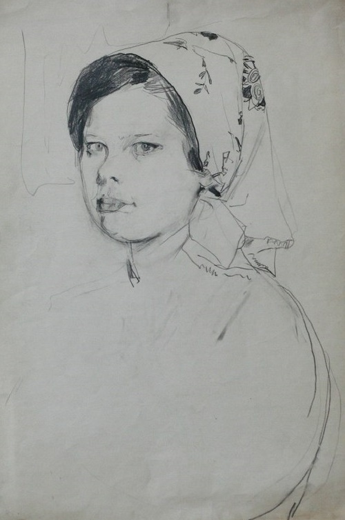 Study for drawing. Milkmaid
