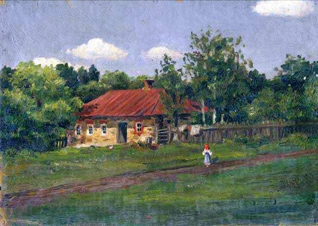 Summer landscape. Village