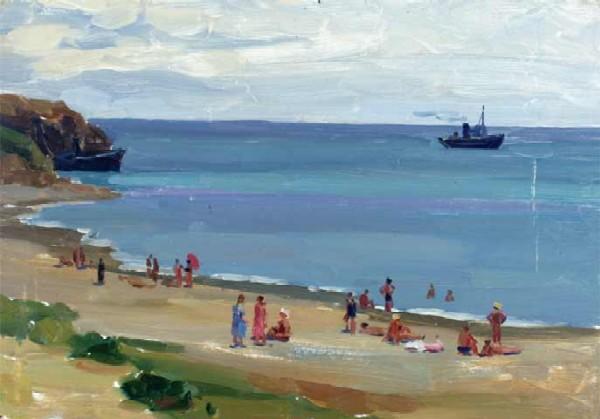 The Black sea. Beach. 1960. Oil on cardboard