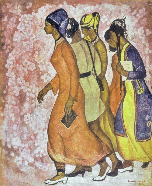 To the light. Triptych. Central part. Oil. 1970. Soviet Turkmen artist Chary Amangeldyev (born July 5, 1933)