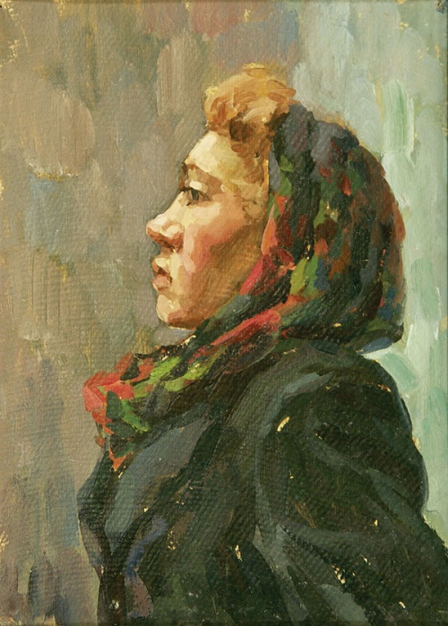 Tonya. Oil on cardboard. Soviet artist Boris Ivanovich Vagin