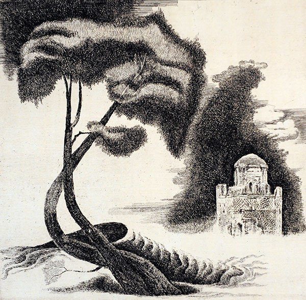 Tree. Linocut