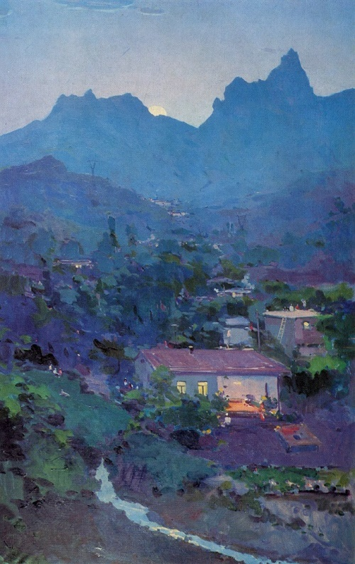 Evening in the mountains. 1962. Oil on canvas. Tashkent art museum