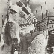 Soviet sculptor Vladimir Yefimovich Tsigal working on the monument of Memorial complex to heroes of the Civil and the Great Patriotic War in Novorossiysk 1972