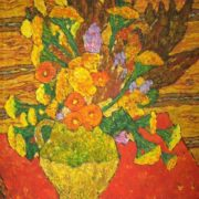Vase with flowers. Still life. Oil on canvas. 1970s