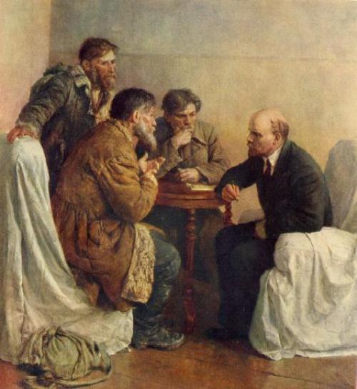 Walkers to Lenin. 1950. Oil