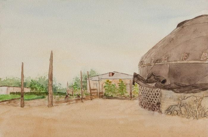 Yurt. 1957. Watercolor paper
