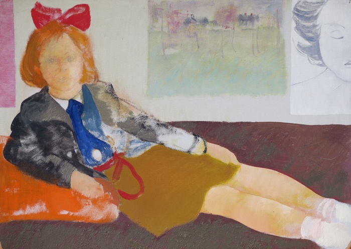 A Schoolgirl in a red bow