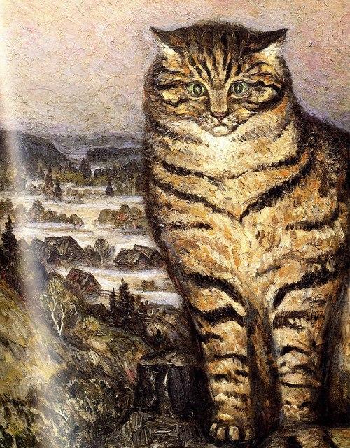 A cat against landscape