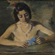 A girl in a necklace