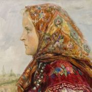 A girl in a red shawl, 1955