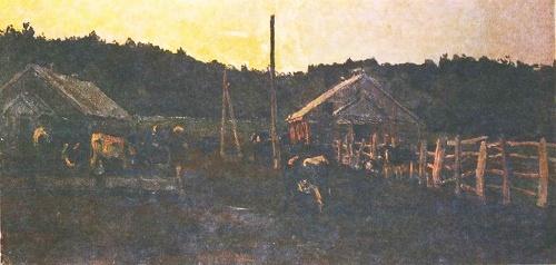 Animal Farm in Priluki. Oil. 1968