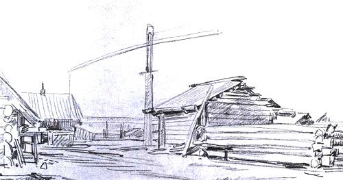 In Belyaevka. Pencil. 1972