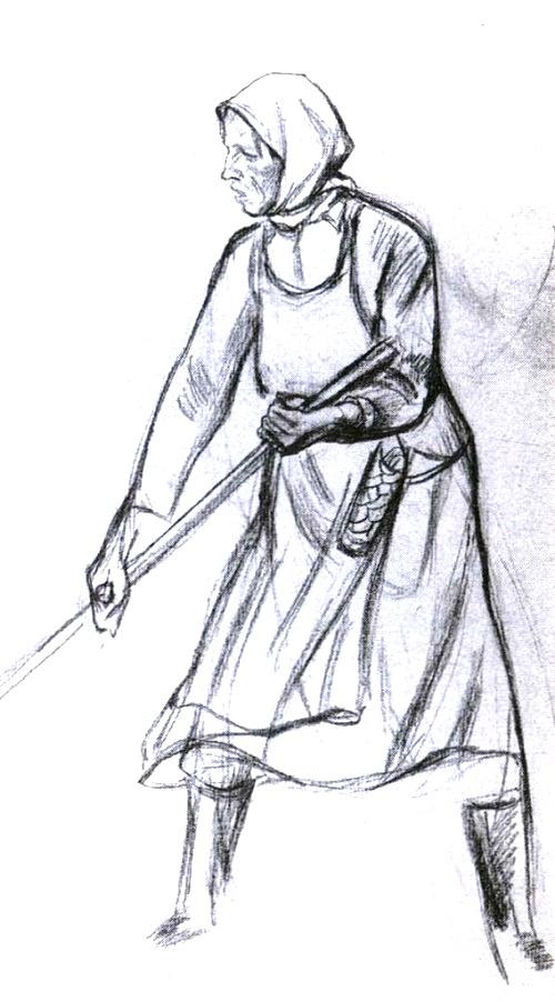 Manya mows. Pencil. 1972