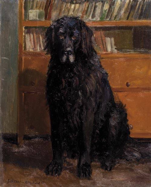 Baikal (black dog). 1965. Oil on cardboard