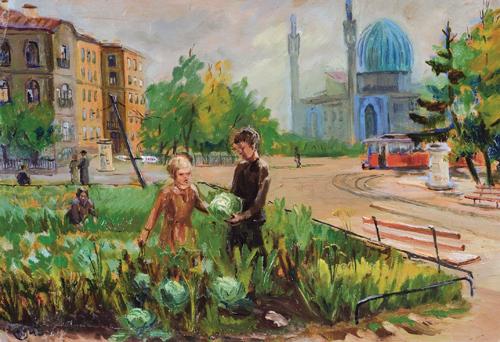 Blockade Autumn. 1945. Oil on cardboard